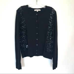 LOFT Lacy Cotton Cardigan Size Large